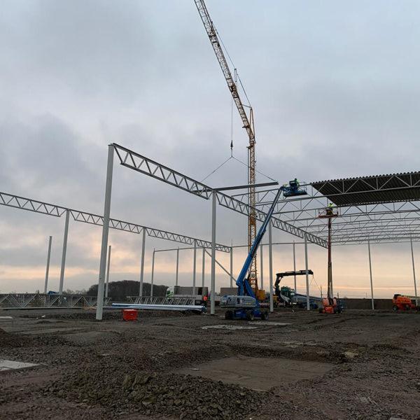 Vy över byggnation av NA-KD:s nya Nordenlager i Landskrona